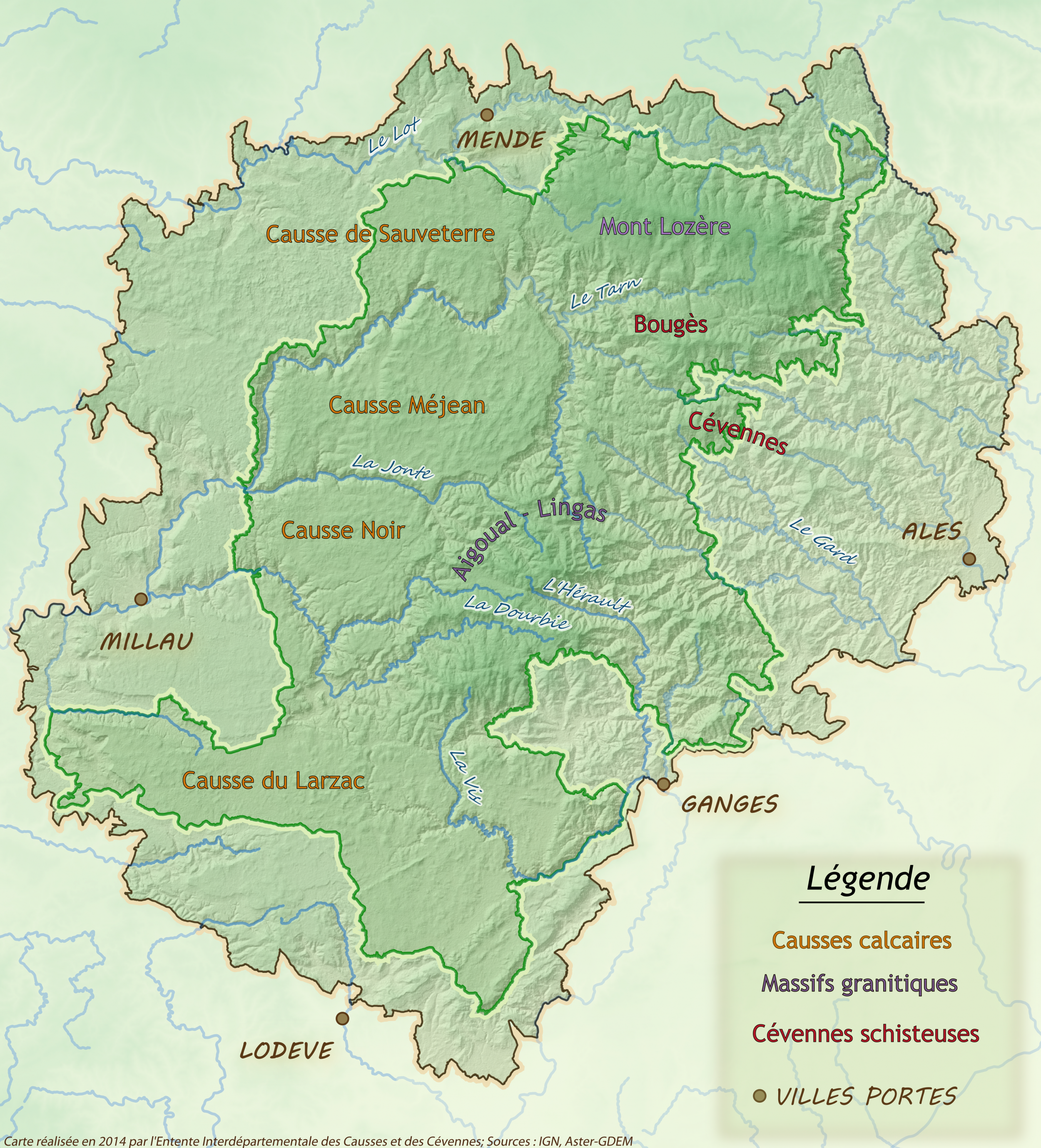 Map of the territory Causses and Cvennes
